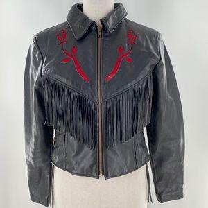 Protect leather Tiger King rose fringe jacket